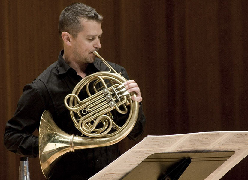 Horn Player Adam Unsworth Performing David Felders Composition Box Man At June In Buffalo 2014