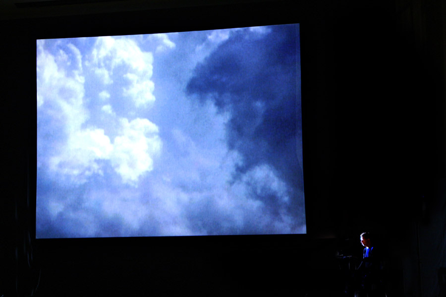 Nicholas Isherwood Performing David Felders Work Shemayin In Front Of The Projection Of Film By Elliot Caplan  7