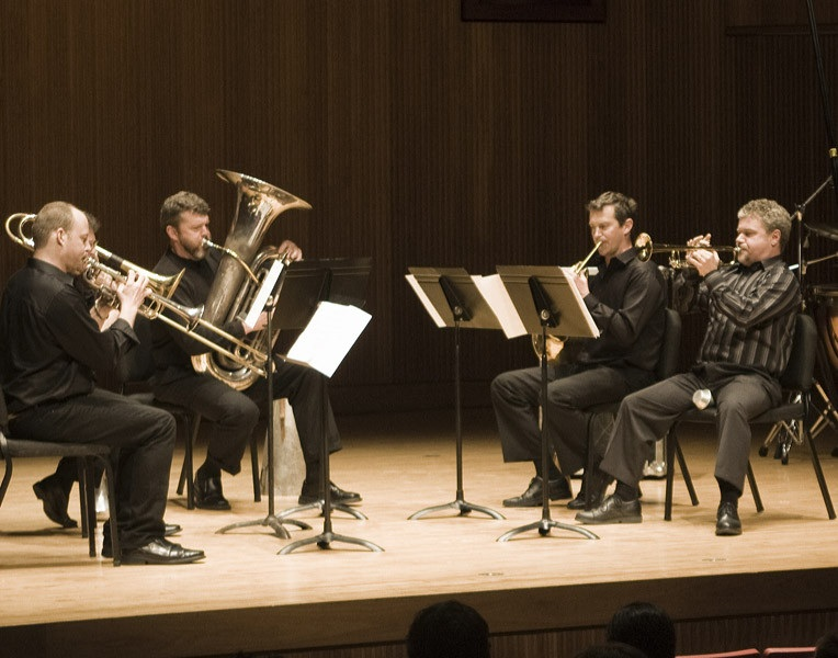 Trumpet Players Jon Nelson And Tim Leopold Horn Player Adam Unsworth Trombonist Benjamin Herrington And Tubist Raymond Stewart Of Slee Sinfonietta Performing David Felders Work Canzone Xxxi At June In Buffalo 2012